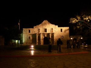 Photo of The Alamo at night.