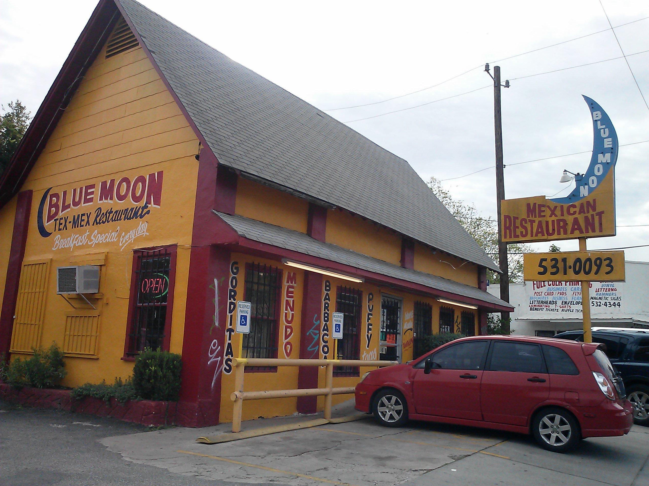 A photo of Blue Moon Mexican Restaurant in San Antonio, Texas.
