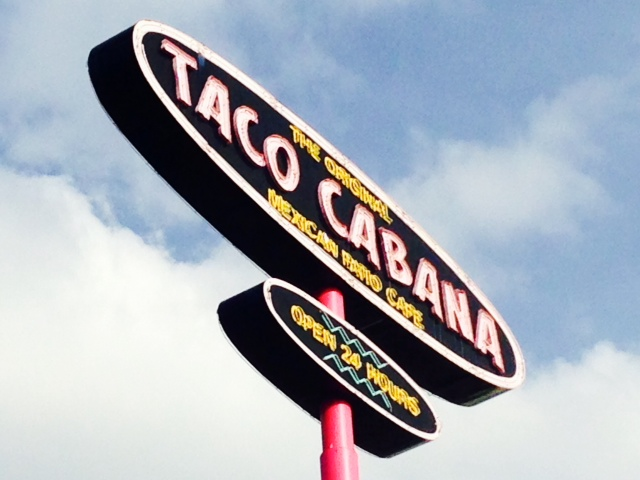 Photo of the Taco Cabana sign on 410 at Nacogdoches.