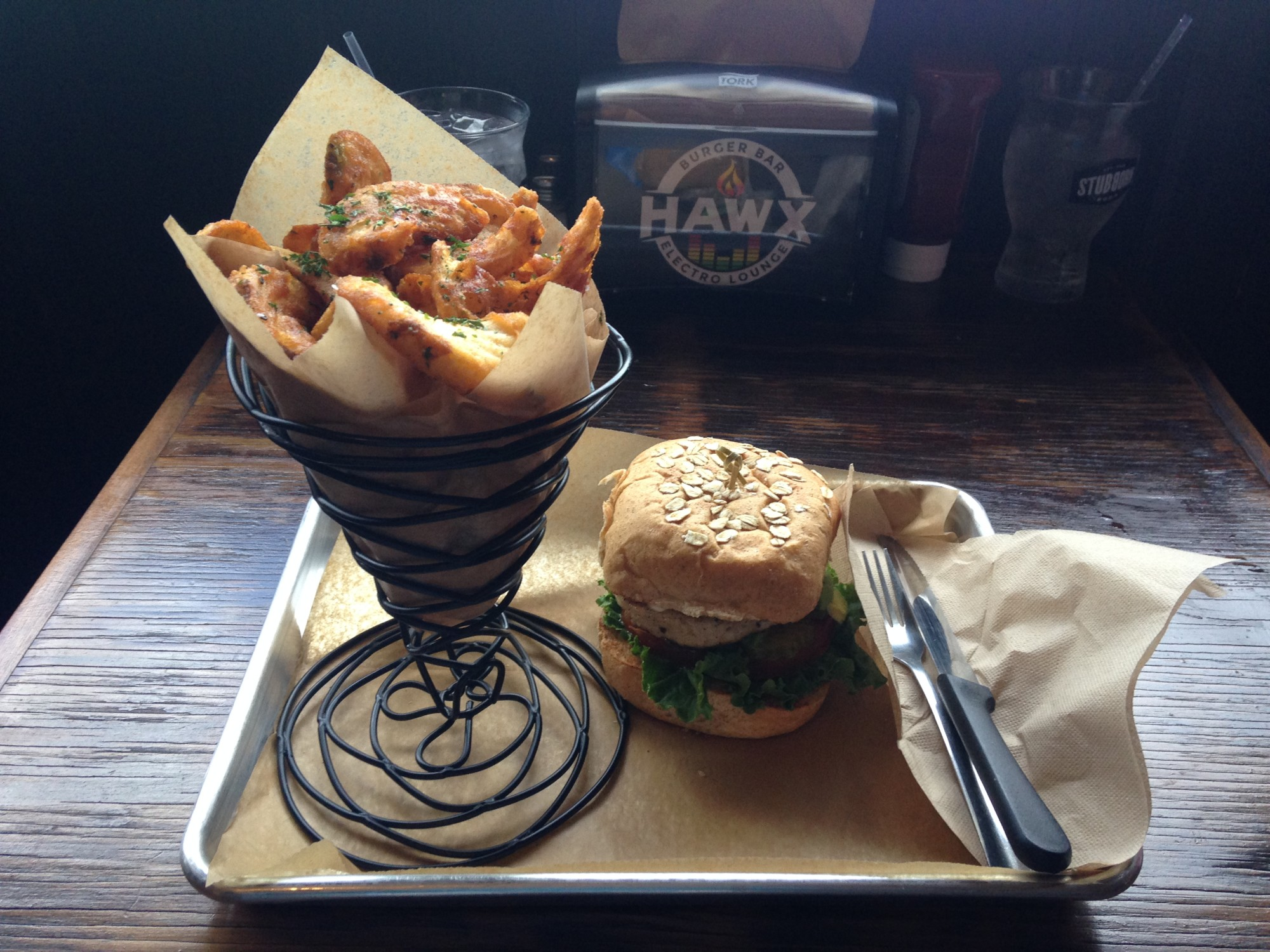 Photo of Hawx Burger Bar and Electro Lounge turkey burger and simply salted fries.