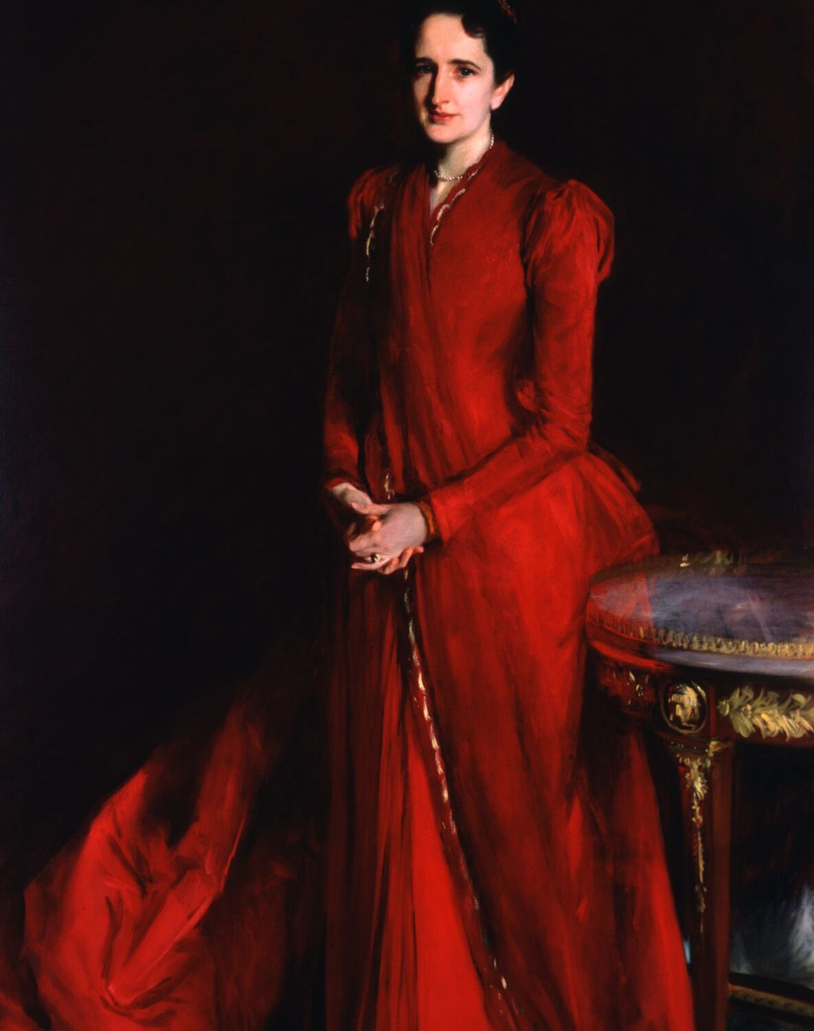Photo of a painting by John Singer Sargent of Margaret Louisa Vanderbilt (Mrs. Eliot Fitch Shepard), a mother of six.